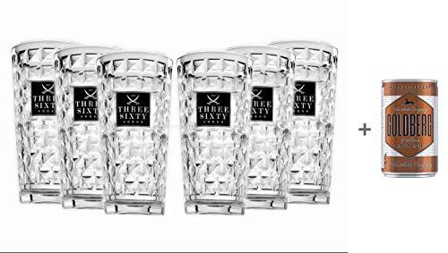 Three Sixty Vodka Longdrink Glas Gläserset - 6X 0,3L geeicht + Goldberg Intense Ginger 0,15l EINWEG