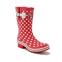 Evercreatures Polka Dot Short Wellies UK 6/EU 39 Red