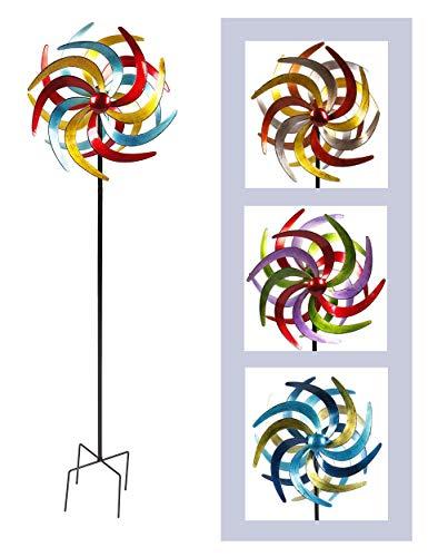 Spetebo Metall Windrad bunt - 140x38 cm - Deko Windspiel Windmühle Gartenstecker groß