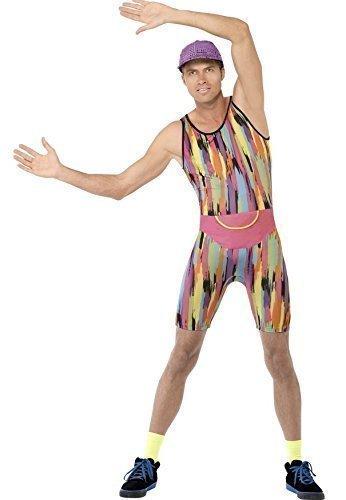 Herr Kostüm Motivator (Herren Herr Motivator Herr Energizer 1990s 90s Aerobic Instructor Neon TV Persönlichkeit Promi Kostüm Kleid Outfit - Mehrfarbig,)