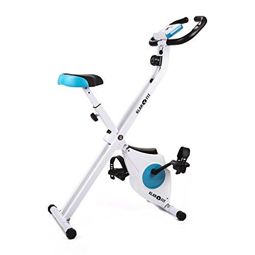 Klarfit Azura [Comfort/Pro] • Ergometer • Heimtrainer • Fitness-Bike • Cardio-Bike • Trainingscomputer • Pulsmesser • 8-stufig verstellbarer Widerstand • 3 kg Schwungmasse • optional: Rückenlehne • Seitenhalterung • ergonomischer Sattel • max. 100kg • weiß-blau