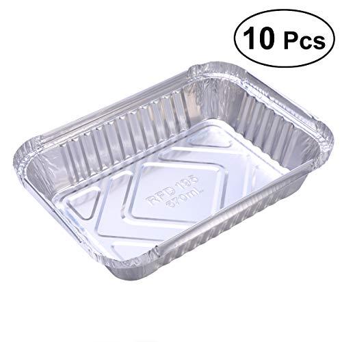 BESTONZON 10 Stücke Einweg BBQ Drip Pan Fach Aluminiumfolie Zinn Liner für Fettfangwannen Ersatz Liner Trays Ohne Abdeckung -