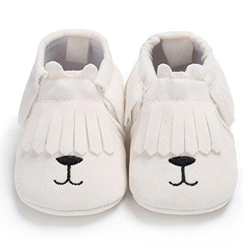 Lenfesh Neugeborenes Baby Warm Halten Niedlich Fringe Ball Krippe Schuhe Soft Sohle Prewalker (6 ~ 9 Monate, Weiß 1) (Ball Fringe)