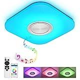 Lámpara de techo con mando a distancia, control de aplicación y altavoz Bluetooth, MP3 24 W, cambio de color, estrellas, regulable, blanco cálido y blanco frío, X820 1207