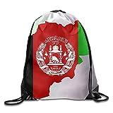 HIDFAA Kordelzug Bag Afghan Map Flag Funny Gym Drawstring Bags Travel Backpack Tote School Rucksack