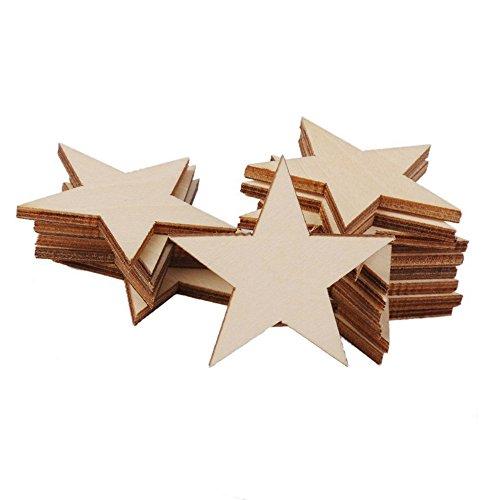 Jooks Holz Crafts Star Form Stück Verzierungen Scheiben Hölzerne DIY Set Stern HOME Schriftzug Schrift Tischdeko Verschönerung Ornamente Hochzeits Tabellen Streu Dekoration 50mm 25pcs (Craft-schriftzug)