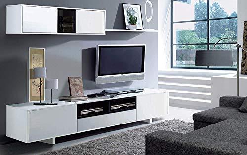 Eglemtek parete attrezzata swiss mobile soggiorno tv con mensola salotto legno base televisione sala da pranzo design moderno 200 x 41 x 46 cm colore bianco