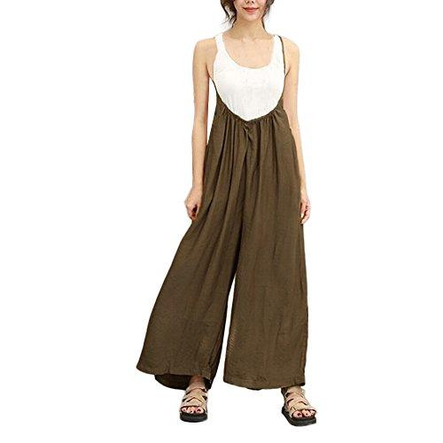 YWLINK Damen Kleidung,Frauen Literarisch Breite Bein Hosen Berufung Latzhose BeiläUfig Overalls Lange Hosen Sling Strampler