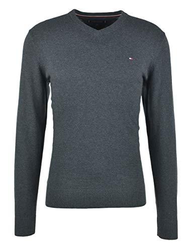Tommy Hilfiger Herren Pullover PIMA Cotton Cashmere Vneck, Schwarz (Jet Black Heather 048), Medium