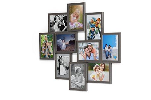 Artepoint Holz Fotogalerie für 10 Fotos 13x18 cm - 3D 1002 Bilderrahmen Bildergalerie Fotocollage Rahmenfarbe Grausilber - 10 13 Foto-bild Von