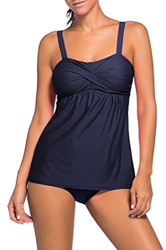 YuanYan Damen Gepolstert Tankini Set Schwimmanzug Zweiteilig Badeanzug Bandeau-BH Figuroptimizer, Größe 3XL(EU 42-44), Farbe Navy Blau (Bh Navy Soft-cup)