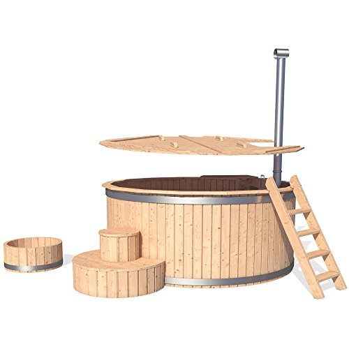 ISIDOR Badezuber Badefass Badetonne Badebottich Pool Outdoor Hot Tub Whirlpool Komplettset mit Deckel und Zubehör optional (Ø240cm mit Leiter)
