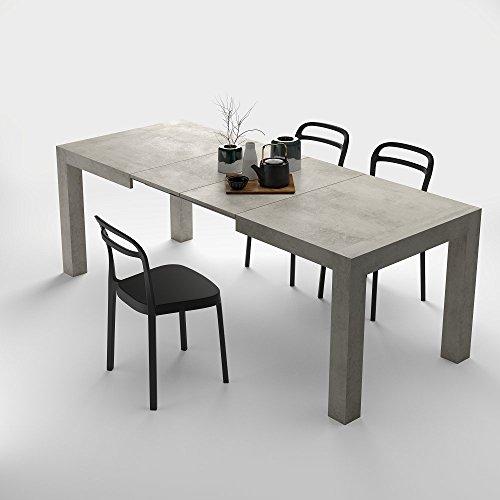 Mobilifiver, tavolo cucina allungabile fino a 220 cm, iacopo, nobilitato, color cemento, chiuso140x90x77, 2 allunghe da 40 cm riponibili all'interno