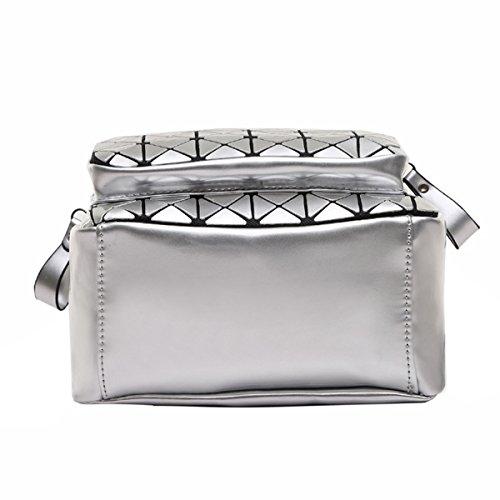 Borsa A Tracolla Zaino Diamante Signora Women Girl Moda Cuoio Dell'unità Di Elaborazione Zaino Multicolore Silver