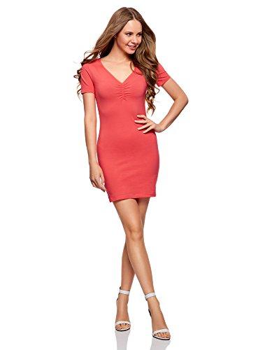 oodji Ultra Damen Enges Kleid mit V-Ausschnitt, Rosa, DE 40/EU 42/L