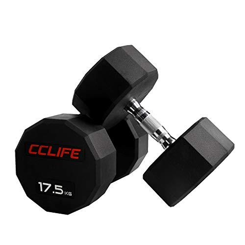 CCLIFE RedForce Manubri Pesi 15-30KG dodecagonali gommati, Colore:17.5 kg, Menge:1 Pezzo