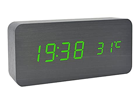 GANGHENGYU Electronic Alarm Clock Wood LED Digital Time Temperature Date Show Silent Desktop Family Bedroom Eco Voice Clock (Black Wood Green