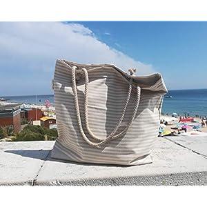 TRAPOS da PIPA, Große Strandtasche mit beigen Streifen und Innentasche, Größe: 49x50 cm, Innenausstattung und Boden mit wasserdichtem Futter, Umhängetasche, Strandtasche für Familienurlaub
