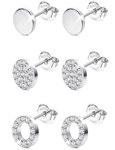 Sllaiss 3 Paar Sterling Silber Runde Ohrstecker Set für Frauen Mädchen CZ Pflastern Ohrringe Mini Dot Runde Disc Ohrstecker Hypoallergen -