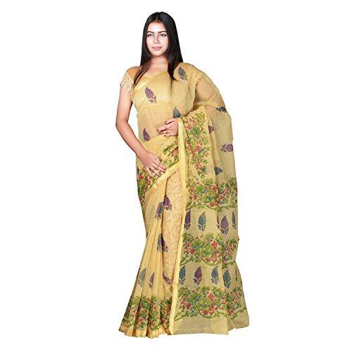 Panvi Kota Doria Kota Cotton Silk Saree with Blouse Piece (P-45_Hand Block...
