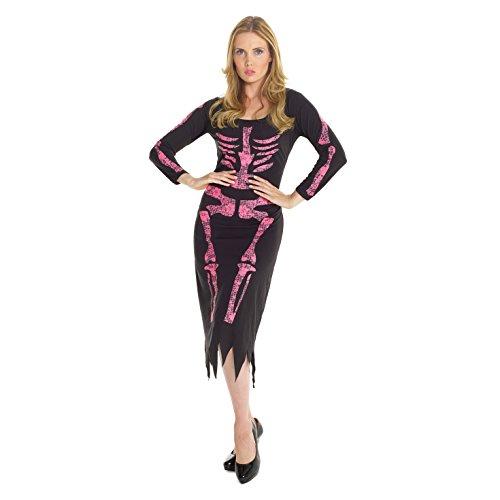 Morph Damen Rosa Skelett Kleid Kostüm Knochen Halloween Parteien Kleidung - ()
