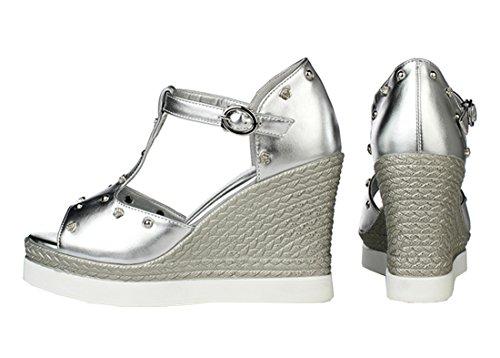 YE Damen Peep Toe High Heels T-Spangen Sandalen Plateau mit Riemchen und Keilabsatz 10cm Absatz Pumps Schuhe Silber