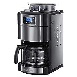 Russell Hobbs Digitale Kaffeemaschine Buckingham Grind&Brew, Mahlwerk für Kaffeebohnen, 9-stufige Mahlgradeinstellung, Timer-Funktion, bis 12 Tassen, 1,5l Glaskanne,1000W, Filterkaffeeautomat 20060-56