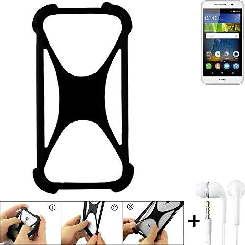 K-S-Trade Handyhülle für Huawei Y6Pro LTE Schutzhülle Bumper Silikon Schutz Hülle Cover Case Silikoncase Silikonbumper TPU Softcase Smartphone, schwarz (1x), Headphones