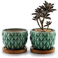 MuciHom 8.3CM Piña Maceta de cerámica vidriada Cactus suculento con bandejas de bambú Verde Lote de 2, decoración de casa y Oficina, Regalo de Boda, cumpleaños, Navidad