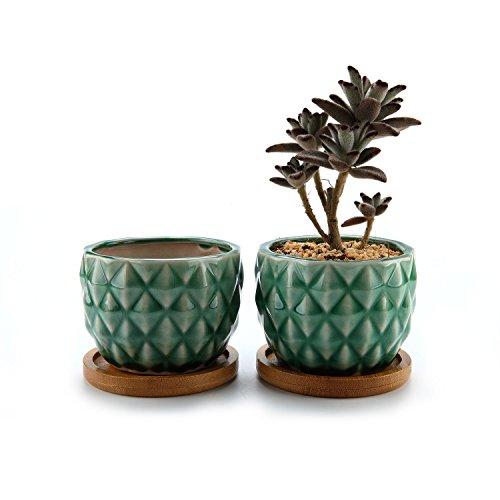 ComSaf Sukkulenten Übertöpfe Töpfe Grün Ananas Keramik EIS-Crack Serie Packung mit 2, Kaktus Container Pflanzer Körbe Kästen Kübel Desktop Dekoration Geburtstag Hochzeit