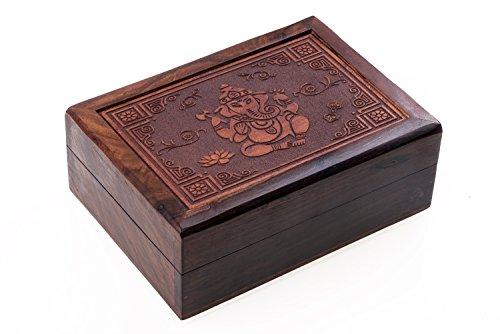 Schatulle Kästchen Schmuckkästchen Tarotdose aus Holz mit geschnitzem Ganesha