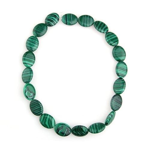 SODIAL(R)Chaine de perles en pierres precieuses et malachite ovales 20x15mm