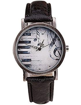 SSITG Unisex Armbanduhr Retro Noten Piano Schlüssel Muster Leder watch Geschenk Gift