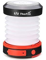 ThorFire Linterna Camping, Linterna Mini LED Recargable por USB y Solar, Carga de Movil en caso de Emergencia, para Excursionismo,Paseos,Aventura y Otras Actividades al Aire Libre