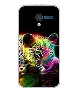 PrintVisa Designer Back Case Cover for Motorola Moto X :: Motorola Moto X (1st Gen) XT1052 XT1058 XT1053 XT1056 XT1060 XT1055 (Energetic Leopard Elctric Current Colours)