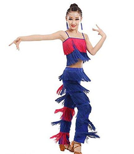 Latin Tanz Show Kostüm - Mädchen Latin Tanz Show / Quaste Kostüm / 2 Stück / Top und Rock / Kinder tanzen Wettbewerb , blue rose110