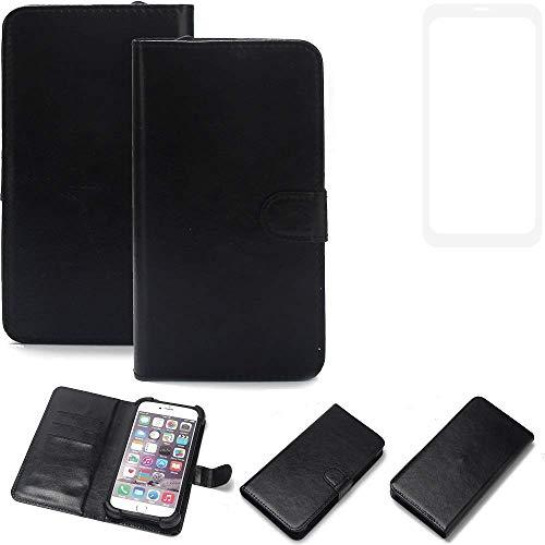 K-S-Trade® 360° Wallet Case Handyhülle Für Vestel V3 5580 Dual-SIM Schutz Hülle Smartphone Flip Cover Flipstyle Tasche Schutzhülle Flipcover Slim Bumper Schwarz, 1x
