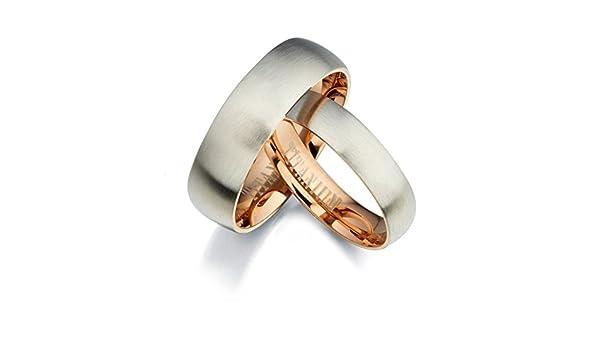 4.25 11.5 Women Ring Size Gemini Groom /& Bride Two Tone Rose Gold /& Silver Brush /& Polish Titanium Wedding Ring Set Width 7mm /& 5mm Men Ring Size