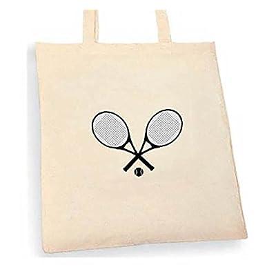 Tennis Raquet Tote bag. Beige cotton bag, Cotton Tote Bag, Can be used as a bag for life shopping bag, handbag, fashion bag, school bag, beach bag, shoulder bag. - handmade-bags