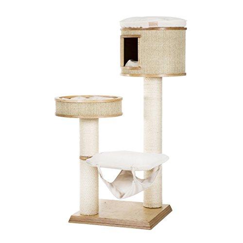 Cotec Katzen Kratzbaum KodKod X - Kratzbaum mit Katzenhöhle, Nest und Aussichtspunkt (150 cm) aus Naturholz, Stoff: Beige, Sisal: Beige - 3 Jahren Herstellergarantie