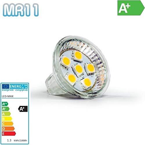 MR11 projecteur 6 lED cMS 3 chips 1,3W-sMD-blanc chaud 90 lm