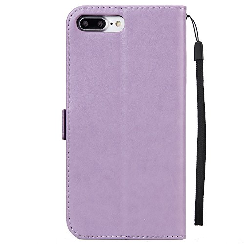 EKINHUI Case Cover Fairy Girl & Flowers Embossing Style Synthetik Leder Tasche Horizontale Flip Stand Brieftasche Tasche mit Lanyard & Card Slots für iPhone 7 Plus ( Color : Green ) Purple