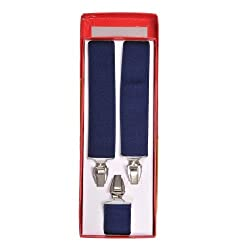 Tiekart men blue plain solids suspenders