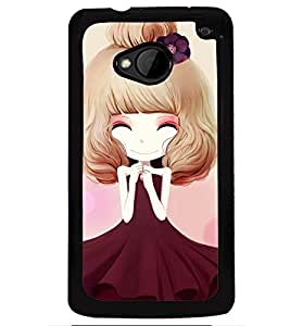 Printvisa Sweet Girlin Brown Back Case Cover for HTC One M7::HTC M7