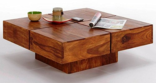 TimberTaste Cento Solid Wood Coffee Table (Teak Finish)