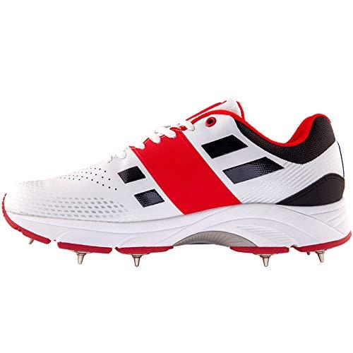 Graue Nicolls Velocity 2.0 Spike Herren Cricket-Schuhe, Weiß, 42