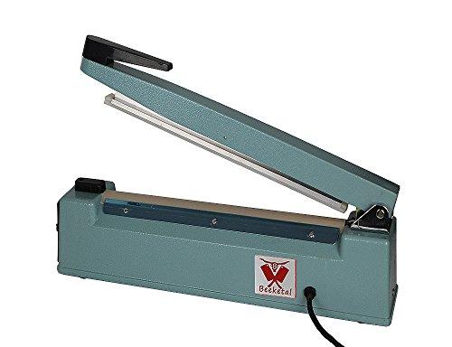 Beeketal \'BP300FS\' Profi Impuls Tisch Schweißgerät (keine Aufwärmzeit) mit 300 mm Schweißlänge und 8 mm Schweißbreite, Folien Schweißzeit von 1-8 Sek, Balkenschweißgerät mit Gusseisen Gehäuse