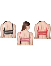 Magic Women Combo of Padded Bralette (Removable Pads) 6 Straps Combo (Black, Pink & Red) Free Size