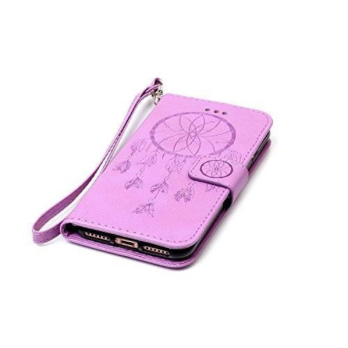 MOONCASE iPhone 7 Étui, Attrapeur de rêves Relief Motif Protection en PU Cuir Folio Housse Béquille Etui à rabat Case Cover avec Porte-cartes Fentes Portefeuille Béquille Fermeture Magnétique pour iPh Violet