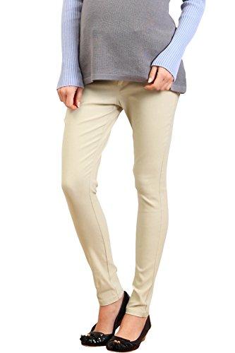 SP5004 Pantalon de grossesse skinny à tour de taille réglable Beige